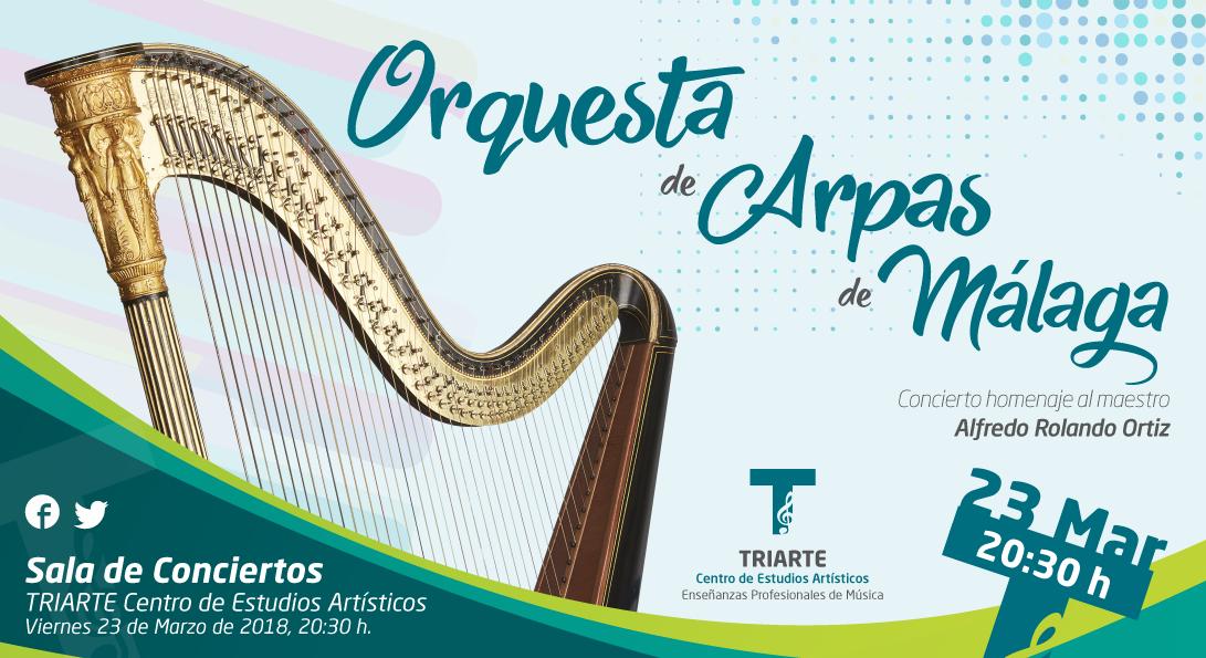 Concierto ofrecido por la Orquesta de Arpas de Málaga en Triarte - Centro de Estudios Artísticos. 23 de marzo de 2018.