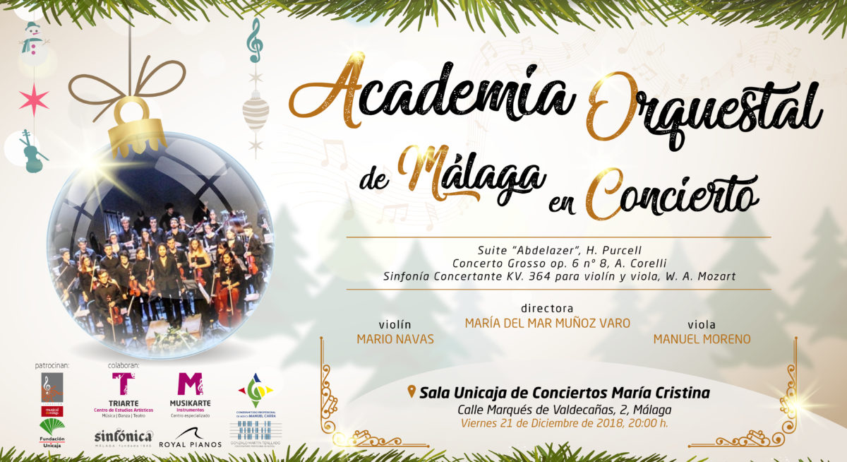Concierto Academia Orquestal de Málaga. Navidad 2018. Sala Unicaja de Conciertos María Cristina.
