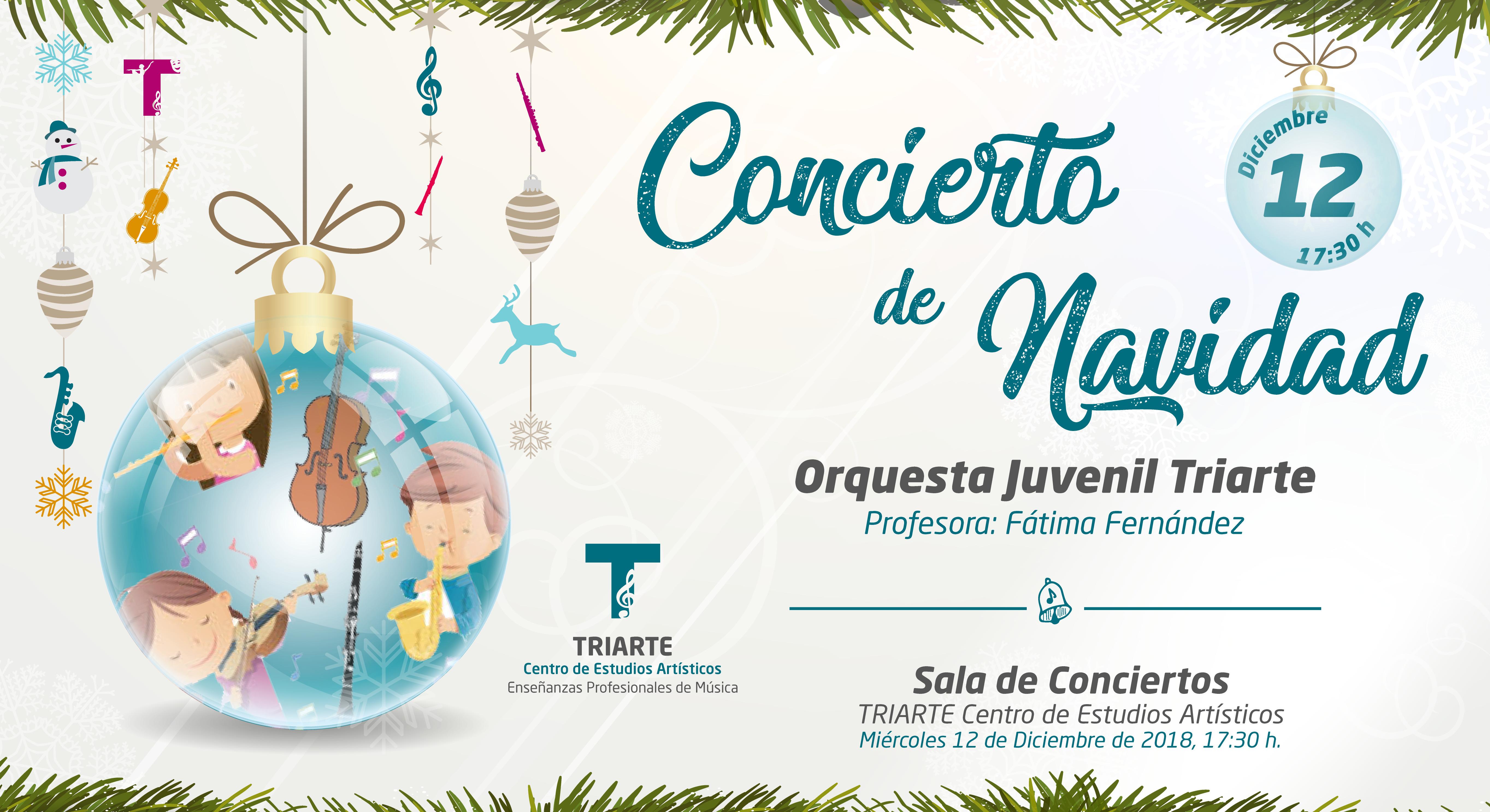 Concierto de la Orquesta Juvenil Triarte. En Triarte - Centro de Estudios Artísticos de Málaga. Violín, Violonchelo, Saxofón, Clarinete, Flauta. Navidad 2018. Málaga.