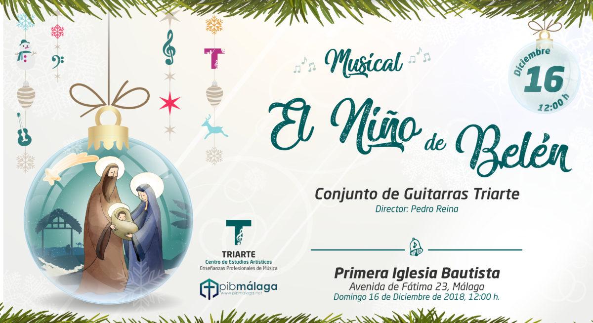 """Conjunto de Guitarras Triarte,. Concierto en la Primera Iglesia Bautista de Málaga. Musical """"El niño de Belén. Málaga, Navidad 2018"""