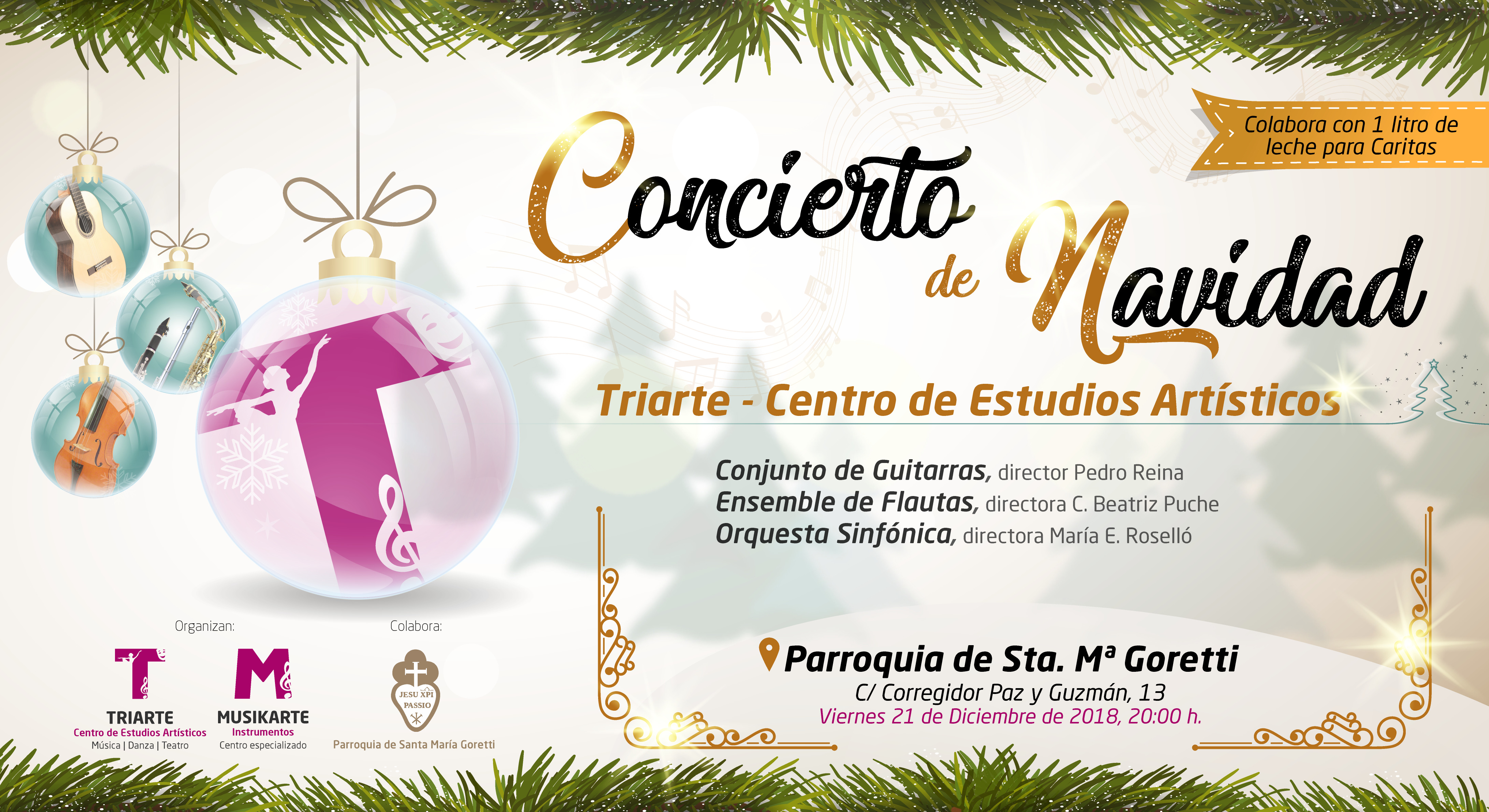 Concierto de Navidad Triarte. Orquesta Sinfónica, Ensemble de Flautas y Conjunto de Guitarras Triarte. Parroquia Santa María Goretti, Málaga. 21 de diciembre 2018