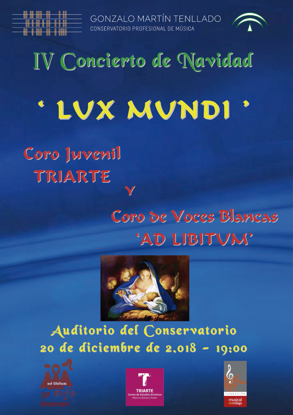 """Concierto de Navidad """"Lux Mundi"""" Coro Juvenil de Triarte y Coro de Voces Blancas """"CPM Gonzalo Martín Tenllado"""""""