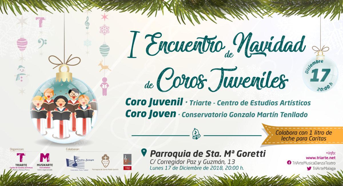 I Encuentro de Navidad de Coros Juveniles. Concierto de Coro. Coro Juvenil de Triarte y Coro Joven de Conservatorio Gonzalo Martín Tenllado. En Iglesia de Santa María Goretti, Málaga. Navidad 2018.