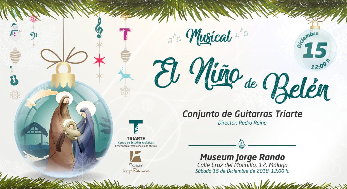 """Conjunto de Guitarras Triarte,. Concierto en Museum Jorge Rando de Málaga. Musical """"El niño de Belén. Málaga, Navidad 2018"""