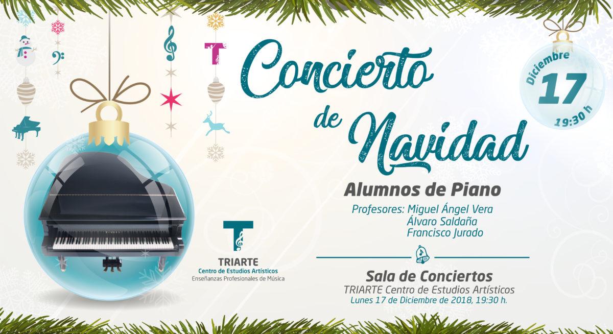 Concierto de Piano. Triarte - Centro de Estudios Artísticos. Navidad 2018. Profesores Miguel Ángel Vera, Álvaro Saldaña y Francisco Jurado. Málaga 2018.