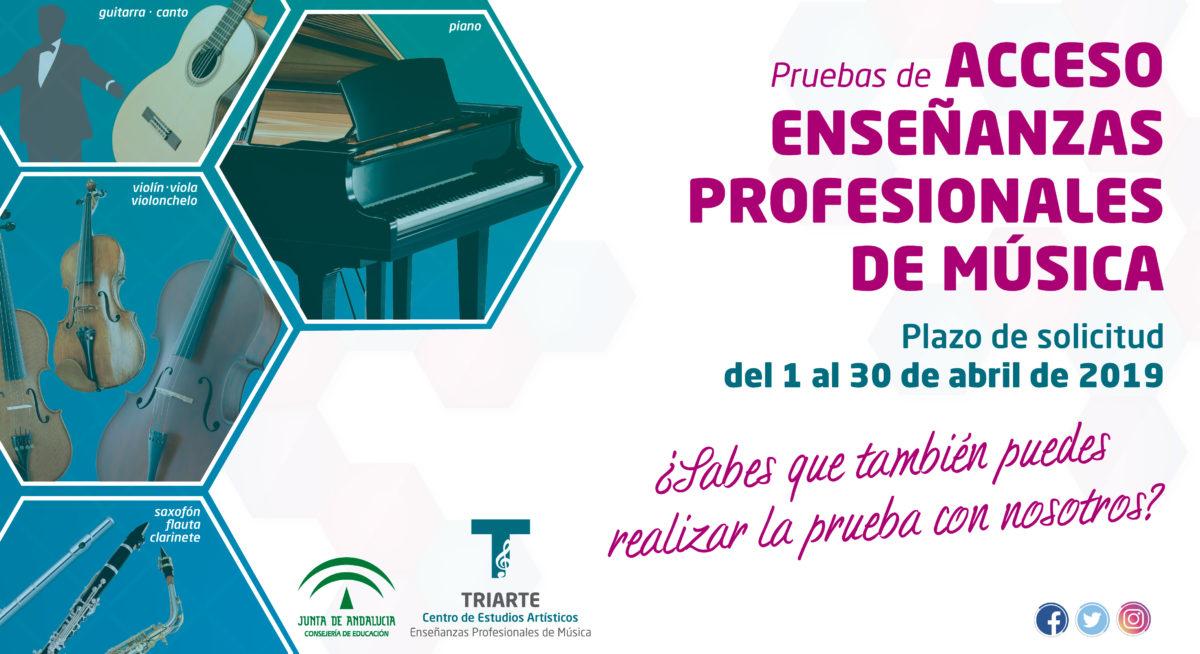 Pruebas de Acceso a Enseñanzas Profesionales de Música, y para cursos distinto de primero de EBM. Curso 19/20. Periodo de solicitud: Abril de 2019.
