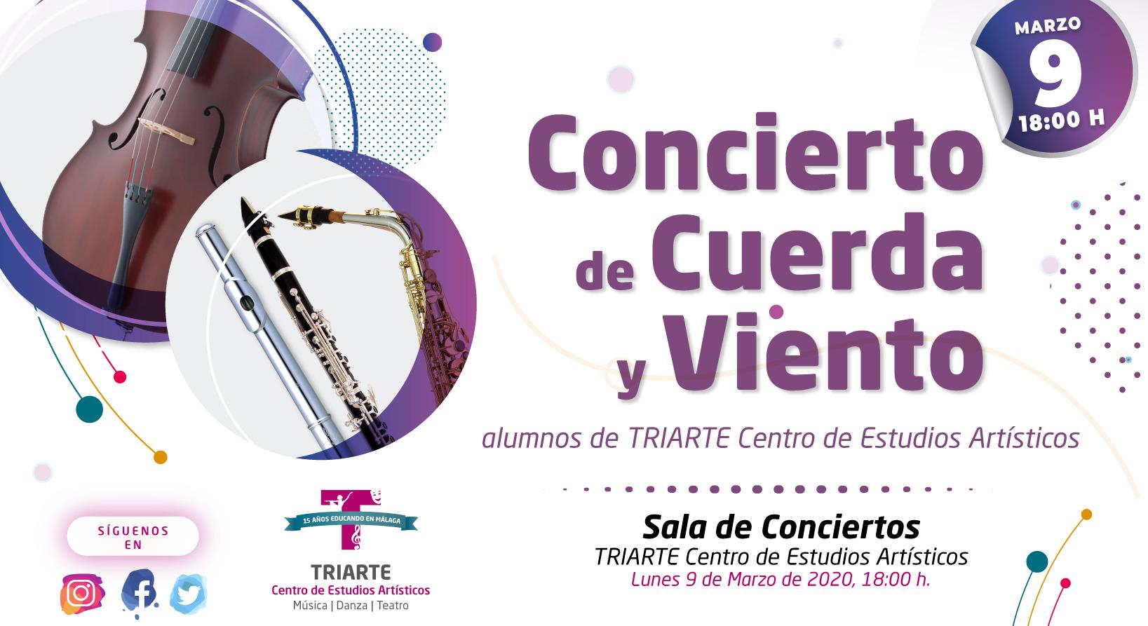 Concierto de Violonchelo, Flauta, Clarinete y SAxofón. Alumnos de TRIARTE, Málaga. Conservatorio de Málaga
